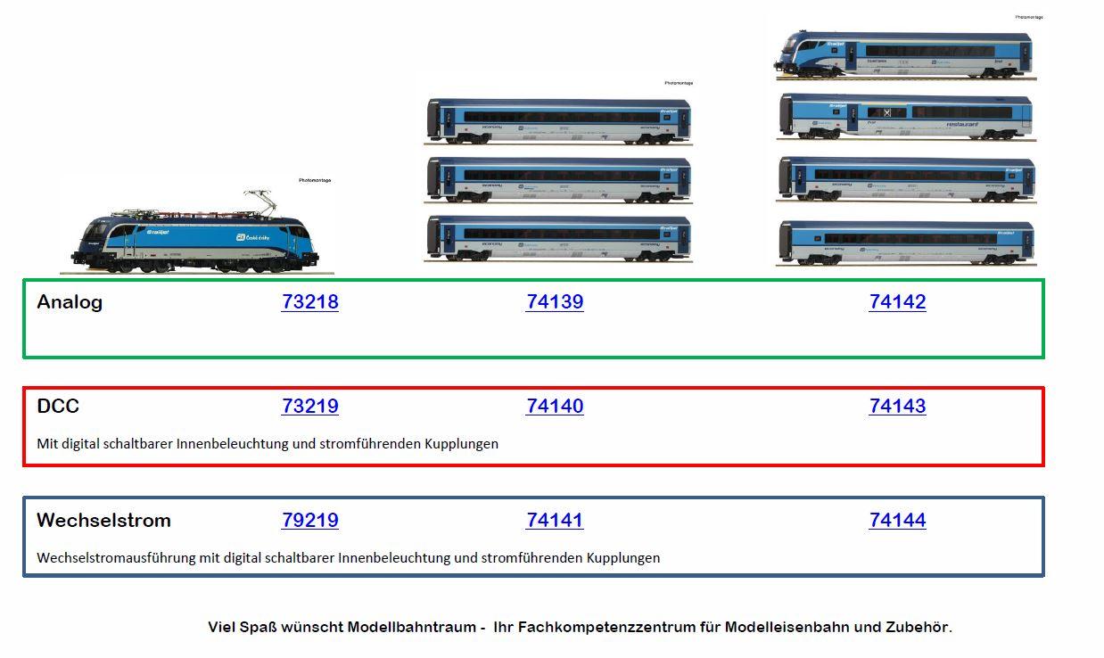 """Roco HO 74139 3-teiliges Wagenset """"Railjet"""" der Tschechischen Staatsbahn 1:87,"""