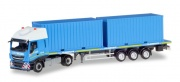 Herpa 310093  Iveco Stralis XP Flachbett-Sattelzug mit 2 x 20 ft. Container
